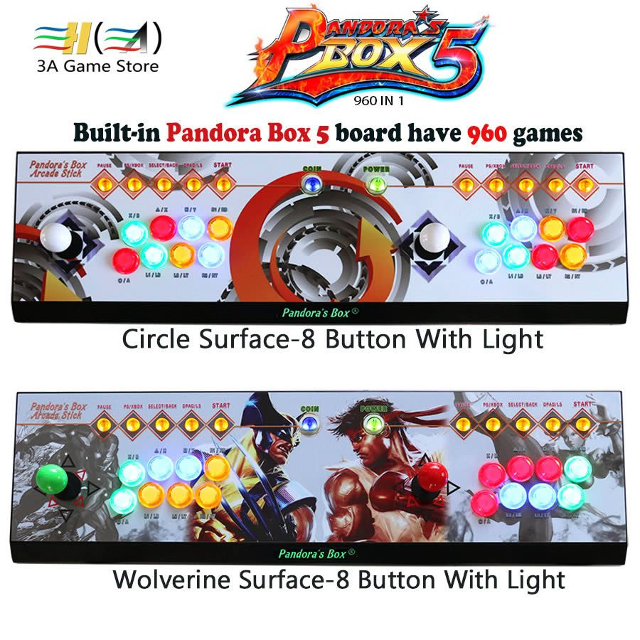 2 players Pandora's box 5 960 in 1 Console Red/Circle/Wolverine Surface 8 Button controle arcade joystick usb arcade controller