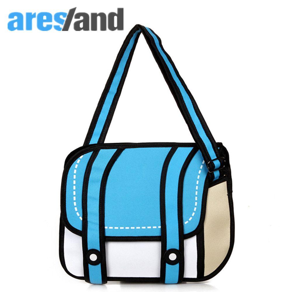 Aresland 2017 Fashion woman bags 2d cartoon bag messenger Shoulder Crossbody bag Ladies Bolsa Feminina Bolsosde Ombro 3d Handbag