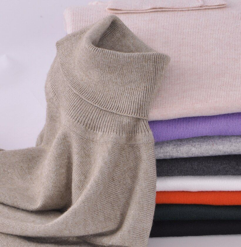 GABERLY Women Soft Cashmere Elastic Sweaters and Pullovers Autumn Winter Sweater Turtleneck Female Wool Knitted Brand Pullover