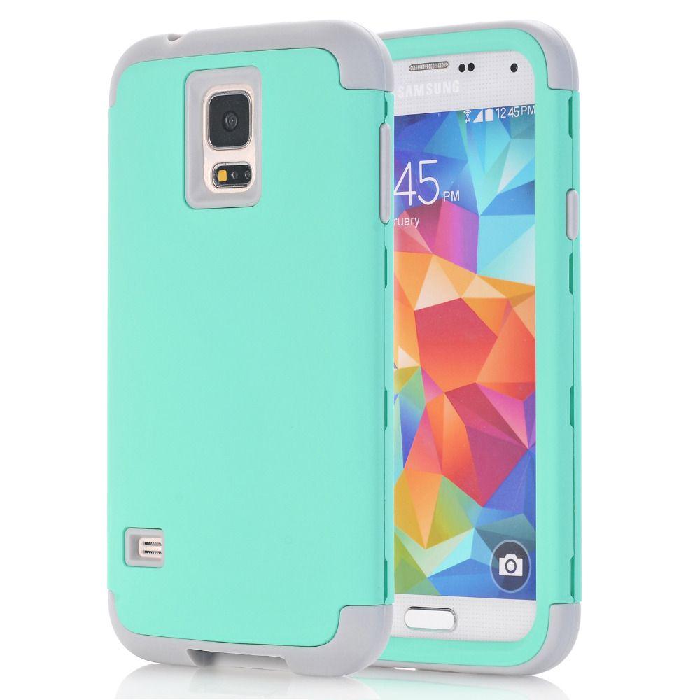 3-in-1 Phone Cases Für Samsung Galaxy S5 i9600 Shell Hard & Soft Rubber Hybrid Rüstung Case w/Screen Protector Film + Stylus Pen