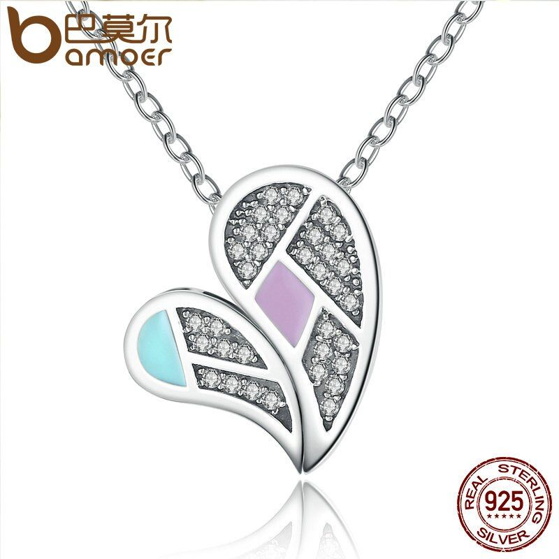 BAMOER New Collection Genuine 100% 925 Sterling Silver Colourful Love Heart Forever Necklaces & Pendants Jewelry SCN064