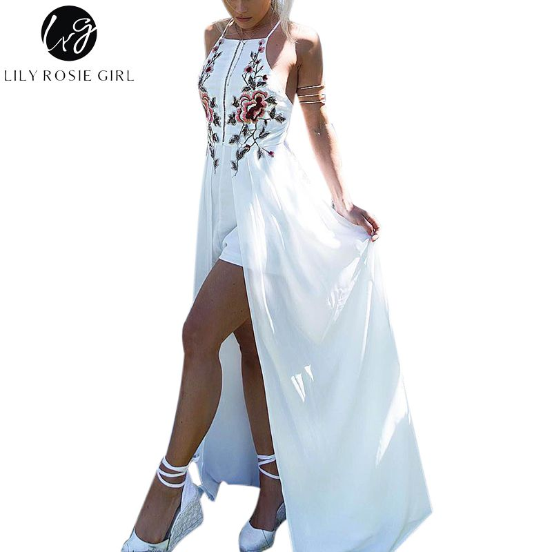 Lily Rosie Girl White Embroidery Floral Sexy Party Playsuits Split Autumn Winter Backless Jumpsuits Short Beach Rompers Overall