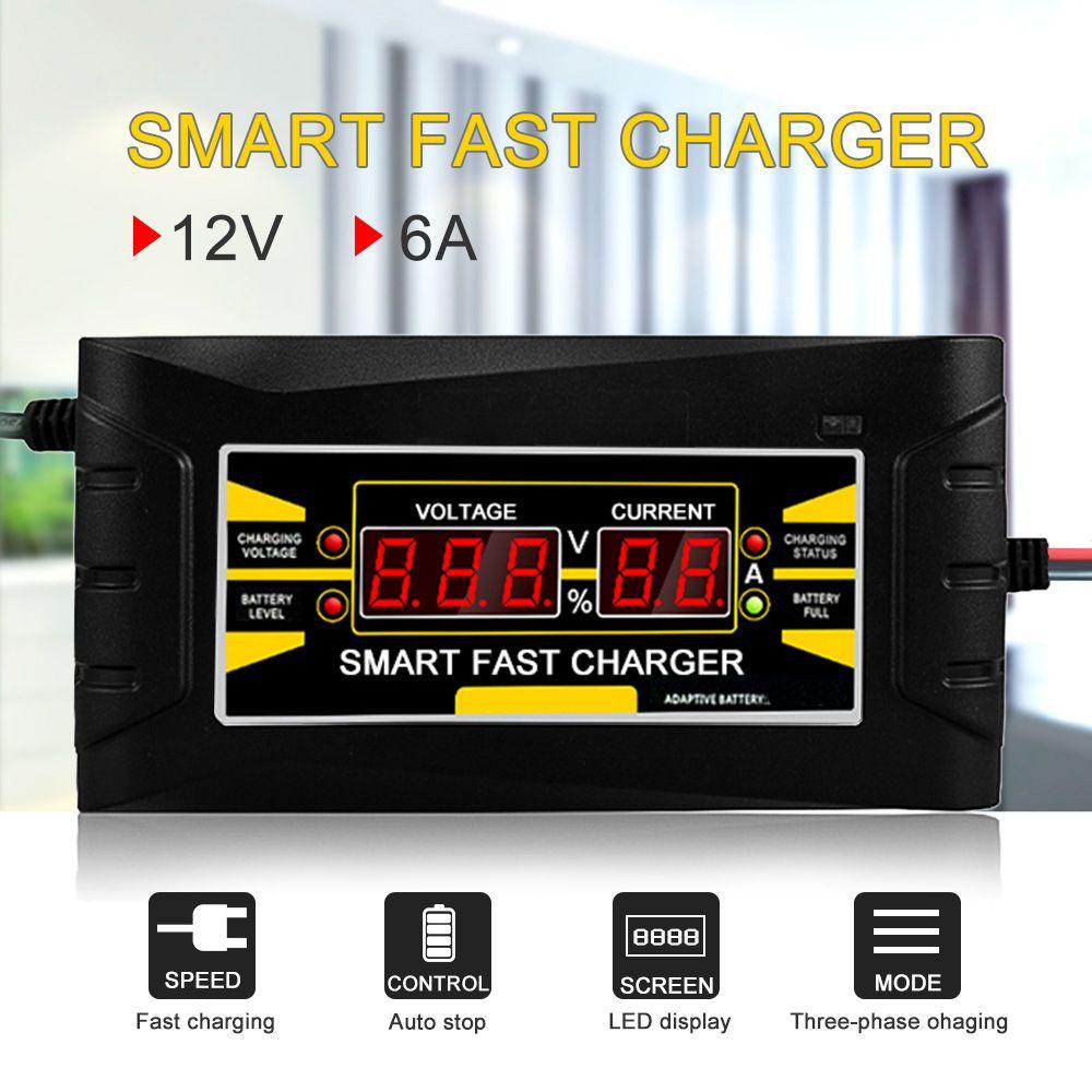 Entièrement Automatique chargeur de batterie De Voiture 110 V/220 V À 12 V 6A Intelligent Rapide Puissance De Charge convient pour voiture moto avec L'UE/US Plug
