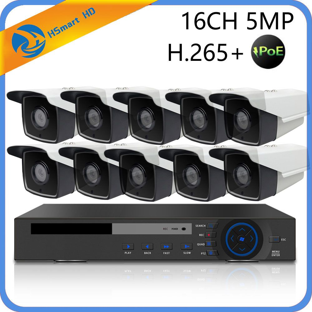 16CH 5MP POE NVR CCTV Security System 4 IR LED Outdoor 3MP IP Camera Dome poe Cameras 3.0MP P2P Video Surveillance System + 4TB