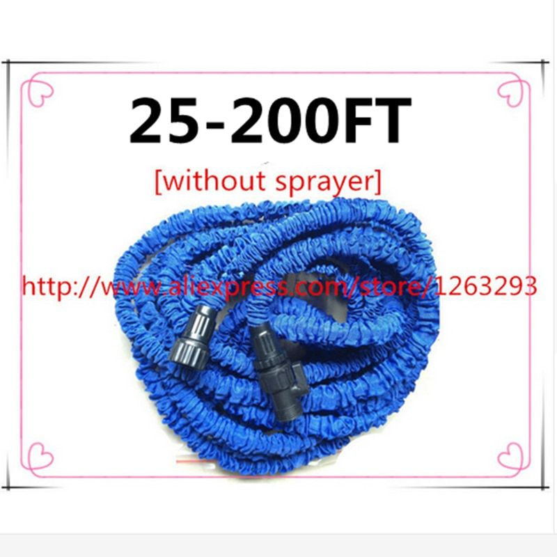 Tuyau flexible magique extensible 25FT-200FT enrouleurs de tuyau d'arrosage valve d'eau bleu connecteur de tuyau d'eau d'arrosage [sans pulvérisateur]