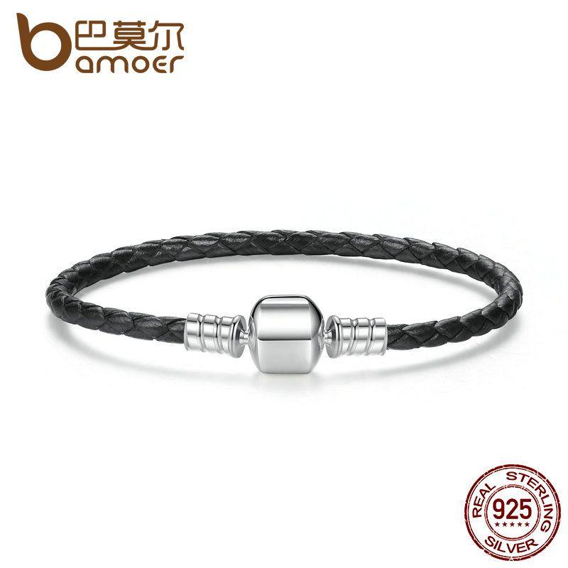 BAMOER Popular 925 Sterling Silver Genuine Leather Bracelets with Snake Chain Unisex DIY Bracelet Fine Jewelry PAS911