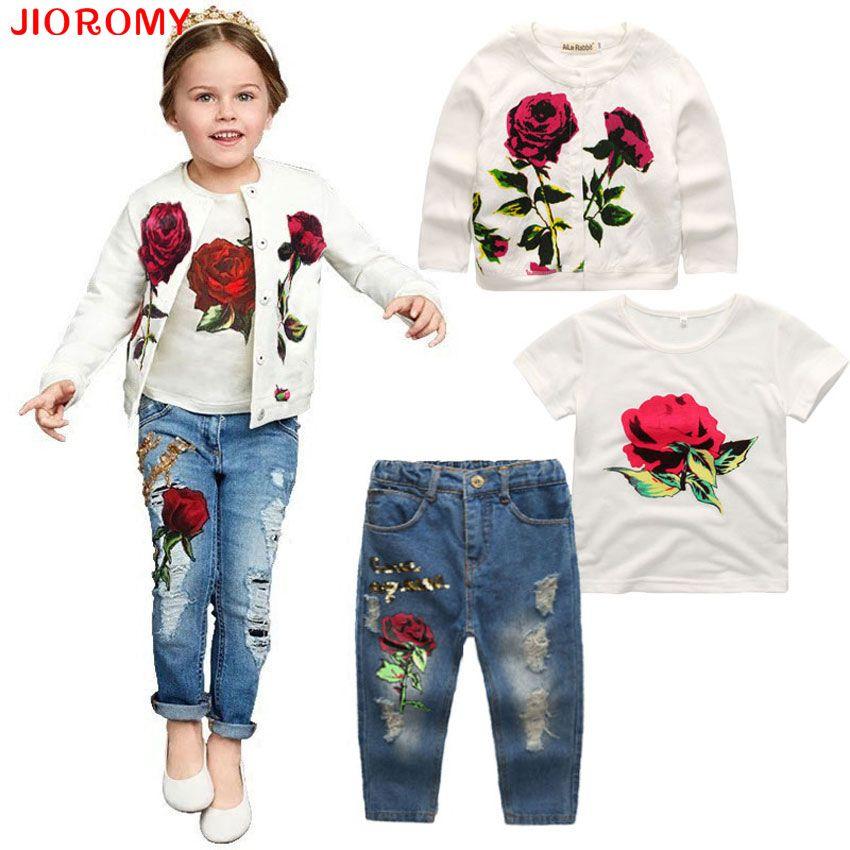 2017 Hot Girls Clothing Suit Jacket + T Shirt + Jeans 3 Pieces Fashion Rose Long Sleeve Coat Shirt Denim Children's Clothing Set