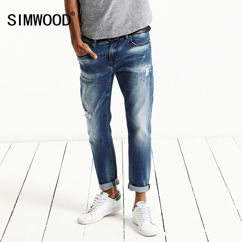 SIMWOOD 2018 printemps Nouveau Mode Jeans Hommes Singe Lavage Denim Pantalon Slim Fit Plus Taille marque Vêtements Haute Qualité NC017002