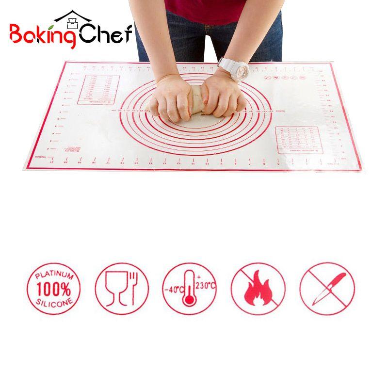 BAKINGCHEF 2 pcs/ensemble Silicone Tapis De Cuisson Pizza Pâte Maker Pâtisserie Cuisine Gadgets Ustensiles de Cuisine Ustensiles de Cuisson Pétrissage Fournitures