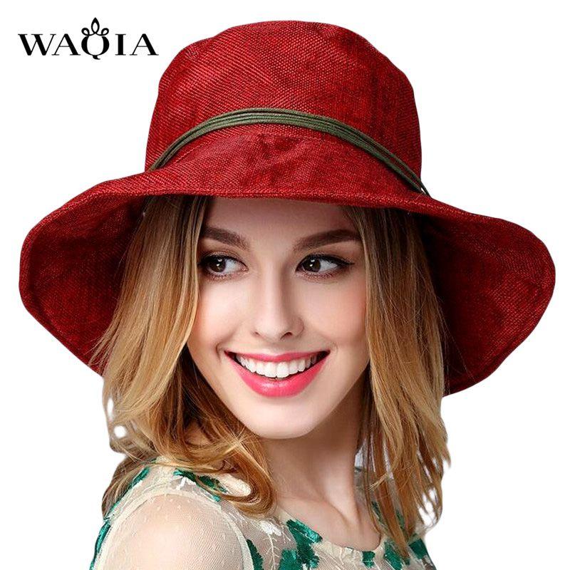 2017 summer hats for women Fashion Vintage Linen Beach hat outdoor leisure sun hat Feminino Fedora Hat Ladies Chapeau 11 Colors