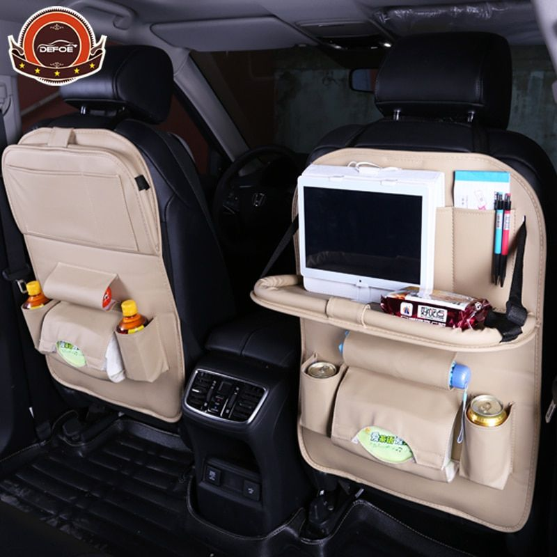 Top quality Car seat cover back seat <font><b>fold</b></font> Dining rack car seat storage bag Multifunction vehicle storage boxcar car seat cushion