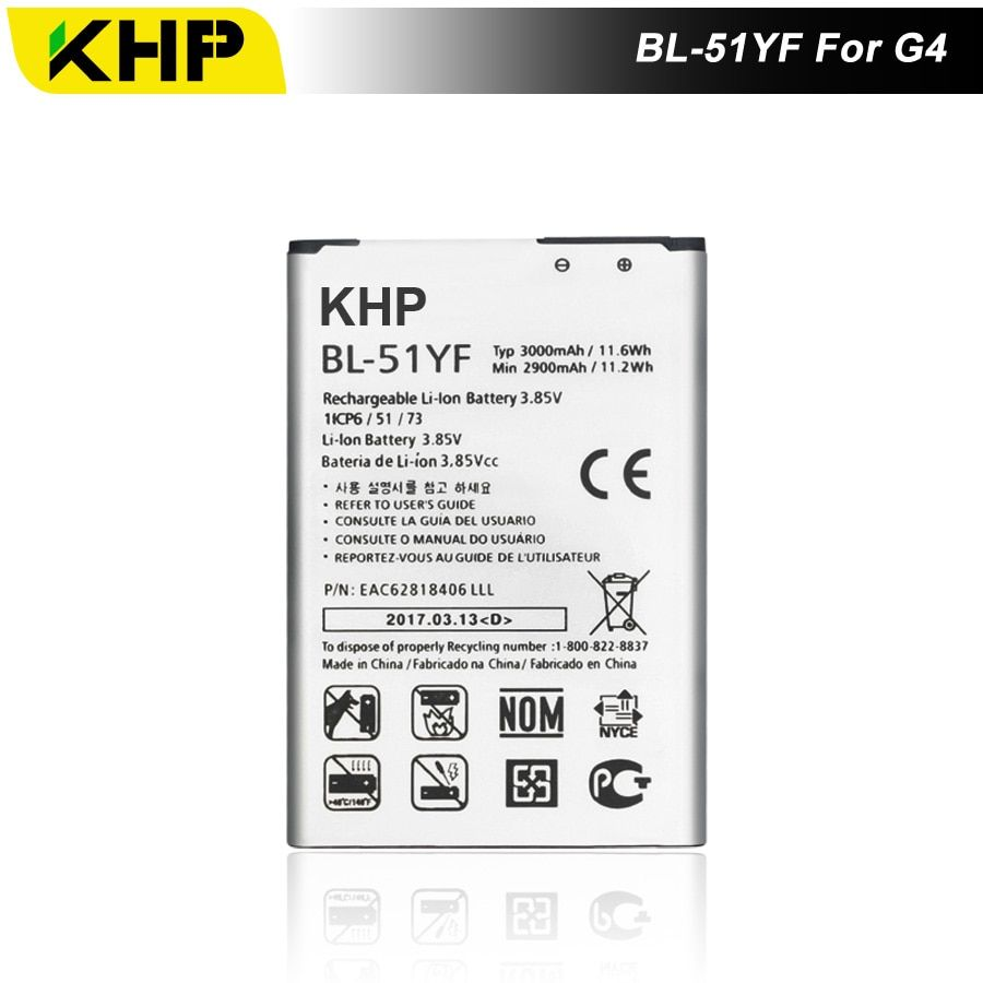 2017 KHP NEW 100% BL-51YF Phone Battery For LG G4 H815 H818 H810 VS999 F500 Real 3000mAh High Quality Mobile Replacement Battery
