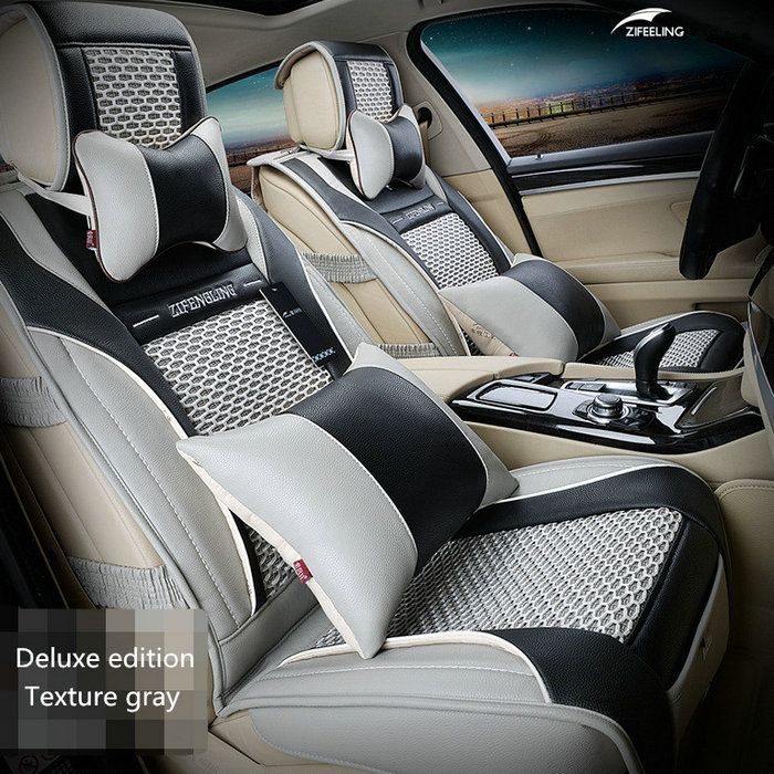 Brand New styling Luxury Leather Car Seat Covers Front & Rear Complete Set for Universal 5 Seat Car Four Season