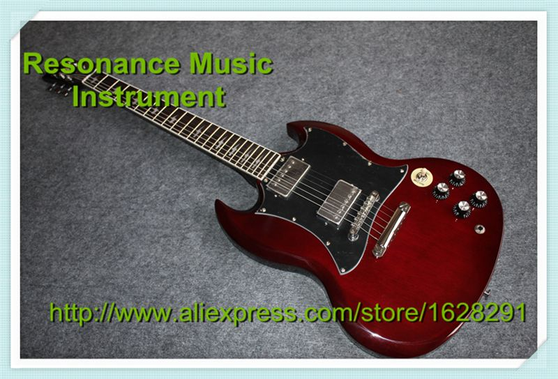 Classic Model Best Service SG Guitar Red Color Angus Young Style AC/DC Inlaids & Lefty SG Available