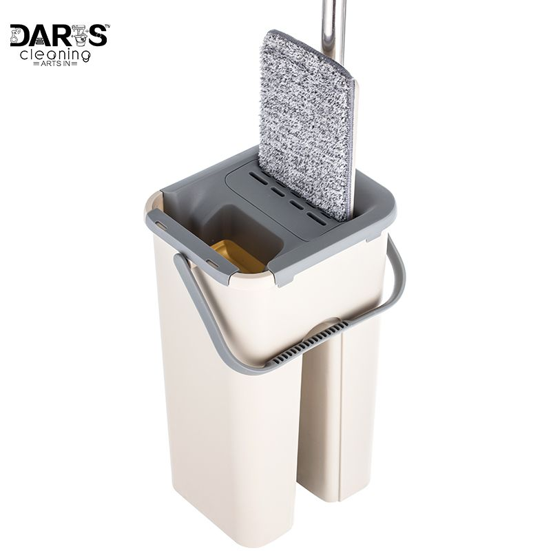 Free Hand Washing Lazy Mop Bucket Magic Cleaner Rotate Self-wringing Squeeze Double Sided Swab Buckets Automatic Dehydration