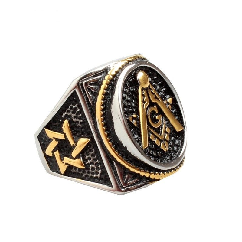 Для мужчин овальной масоном Бесплатная Mason цвет серебристый, Золотой тамплиеров масонское кольцо Украшения для мужчин