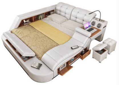 Echte Echtem leder bett rahmen massage Weiche Betten Hause Schlafzimmer Möbel camas lit muebles de dormitorio yatak mobilya quarto wette