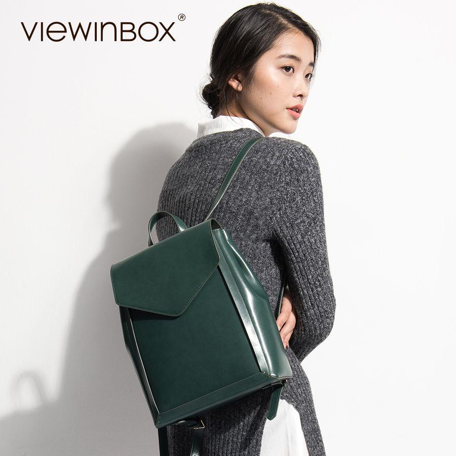 Viewinbox из коровьей кожи рюкзак школьный рюкзак Дизайн Для женщин Дамы Улица Школьный для подростков Обувь для девочек