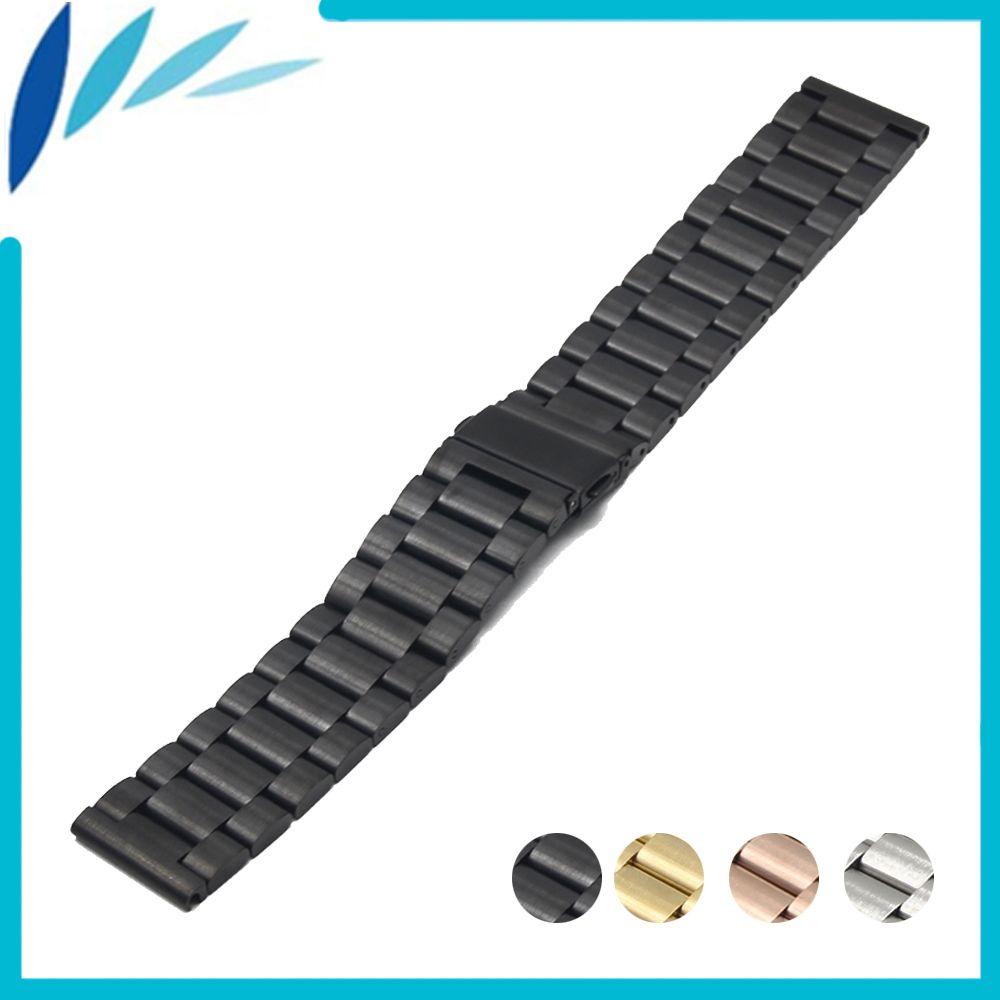Нержавеющаясталь Смотреть Band 22 мм для Samsung Шестерни 2 r380/r381/r382 складная застежка ремешок Quick Release петли пояс браслет черный