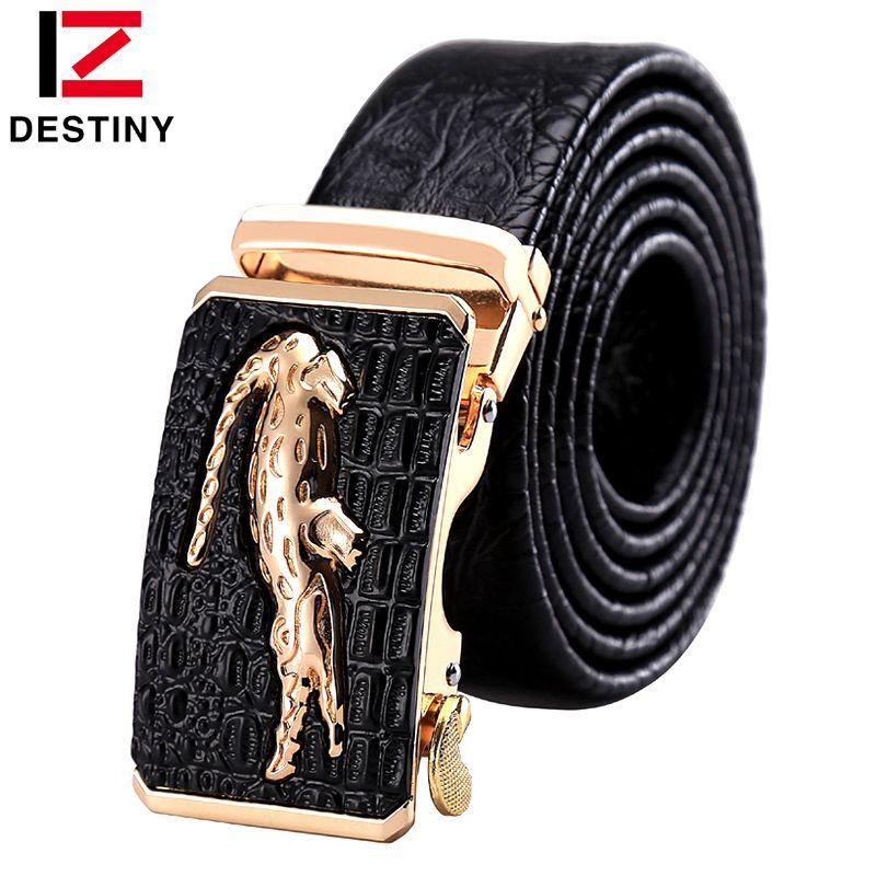 DESTINY Designer Belts Men High Quality Male Genuine Leather Strap Luxury Famous Brand Logo Crocodile Silver <font><b>Gold</b></font> Ceinture Homme