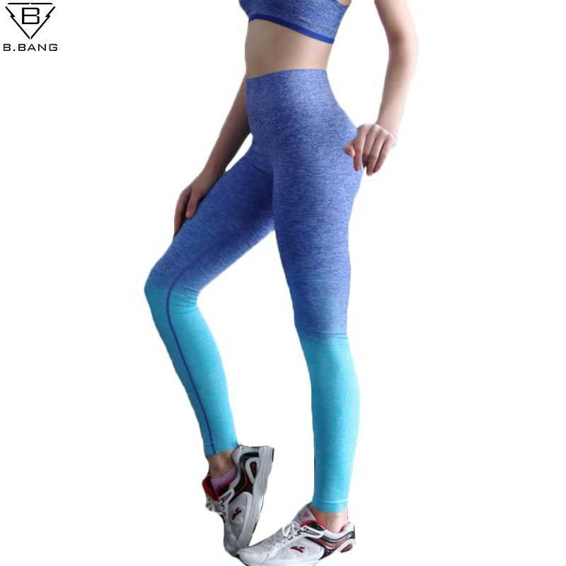 B.BANG Women Yoga Pants <font><b>Running</b></font> Fitness Sport Elastic Tights High Waist Leggings Training Pants Gym Sports Jogging Trousers