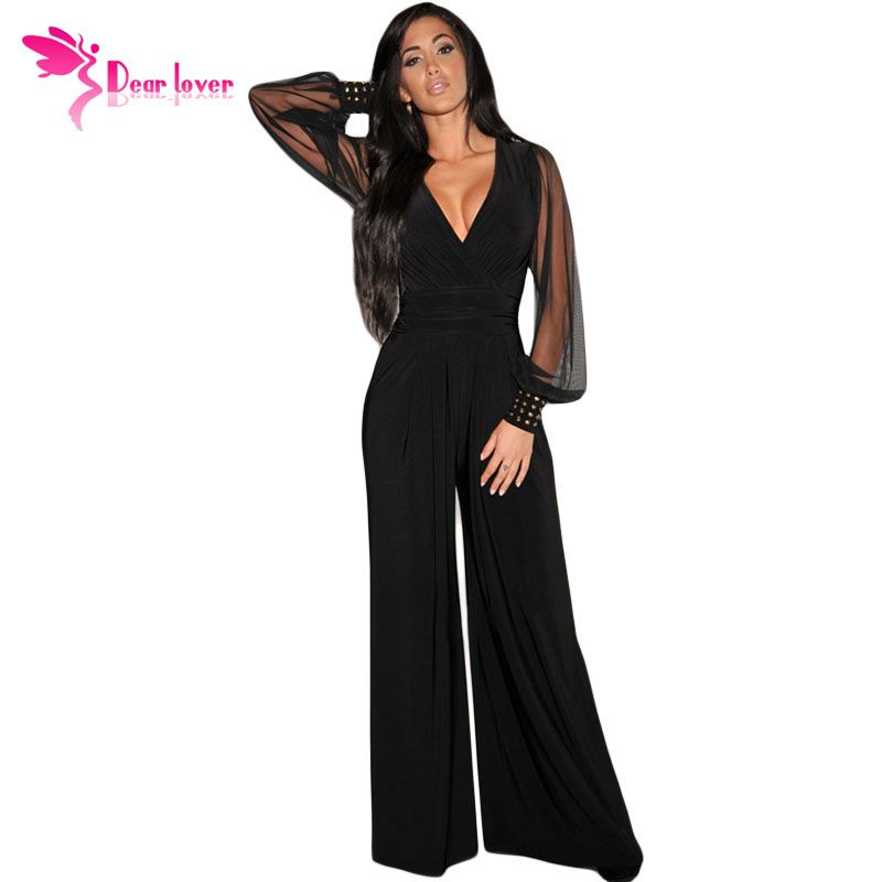 Dear-Lover Long Black Rompers Womens Jumpsuit Winter Autumn Party V-neck Embellished Cuffs <font><b>Mesh</b></font> Sleeves Loose Club Pants LC6650