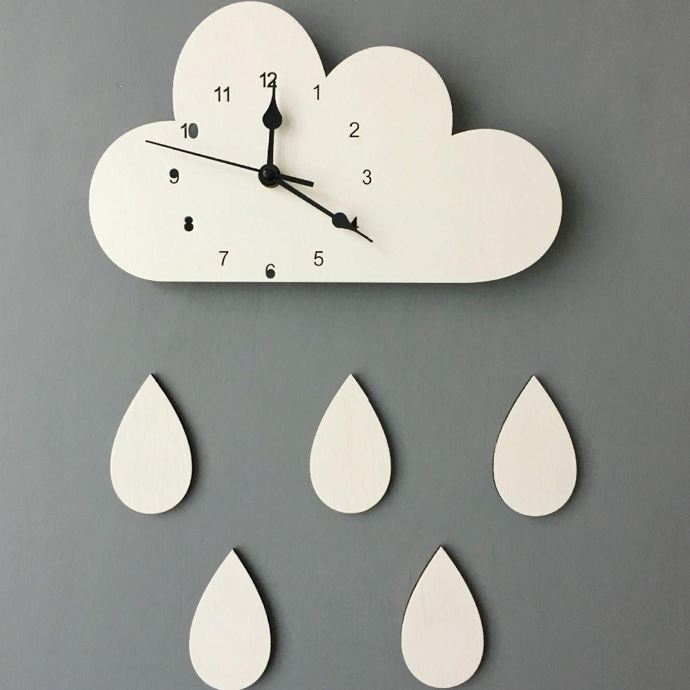 28*16CM Nordic Wooden Cloud raindrop Shaped Wall Clock Kids Room Decor Baby Gender Neutral Wall Clock Nursery Baby Gift 1piece