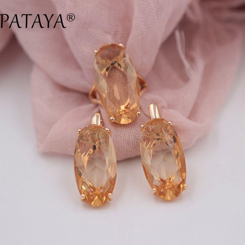 PATAYA New 585 Rose Gold Fine Jewelry Sets Oval Artificial Cubic Zircon Big Dangle Earrings Ring Sets Women Vintage Jewelry Set