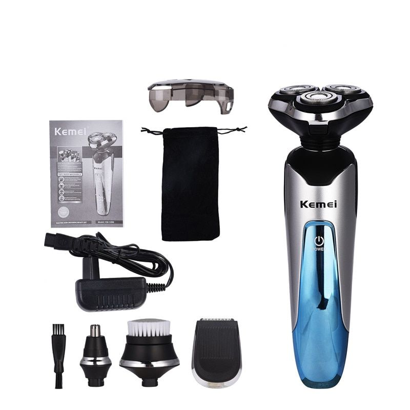Kemei 4 in 1 Waterproof Electric Shaver Beard Trimmer Rechargeable Razor Men Shaving Machine Nose Trimmer Men Hair Removal Tool