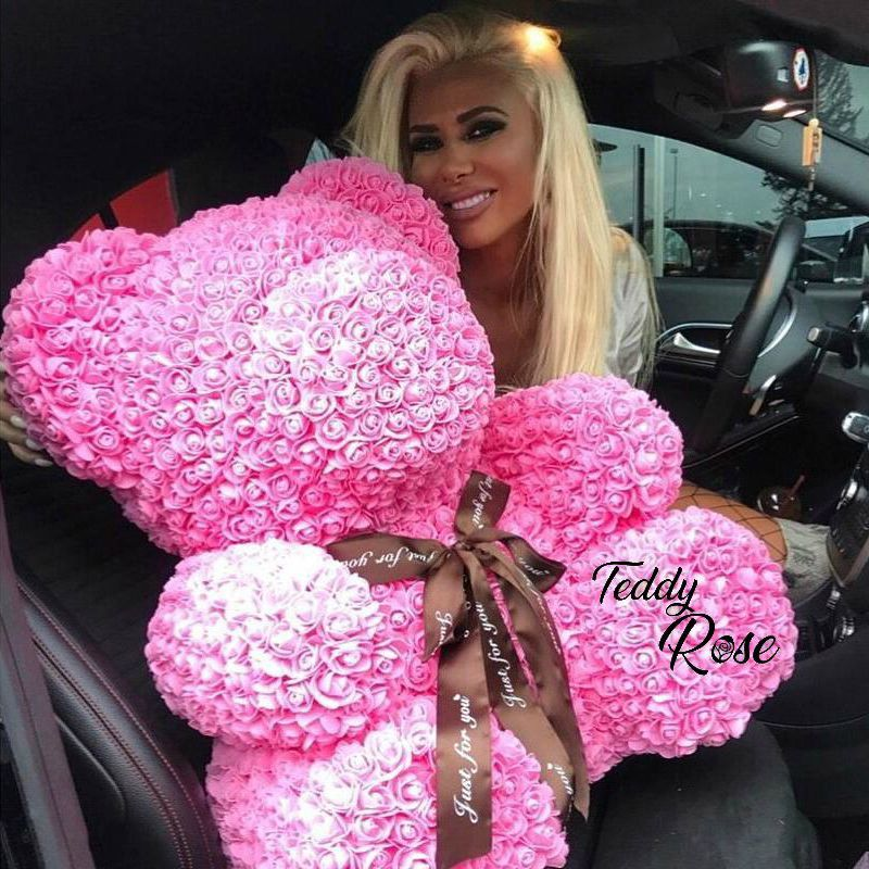 2018 Wholesale Cheap 40cm Red Bear Rose Teddy Bear Rose Flower Artificial Decoration Christmas Gifts for Women Valentines Gift