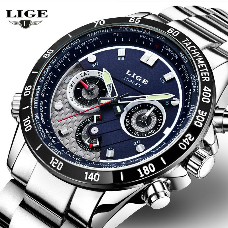 LIGE Quartz Military Sport Watch Men Luxury Brand Casual Watches Men's Wristwatch army Clock full steel relogio masculino 2016