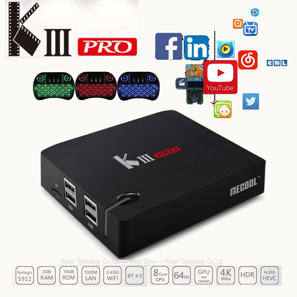 MECOOL KIII Pro DVB T2 Android TV Box 3G 16G Amlogic S912 Octa Core 4K H.265 Decoding 2.4G+5G Dual Band WiFi BT 4.0 Media Player