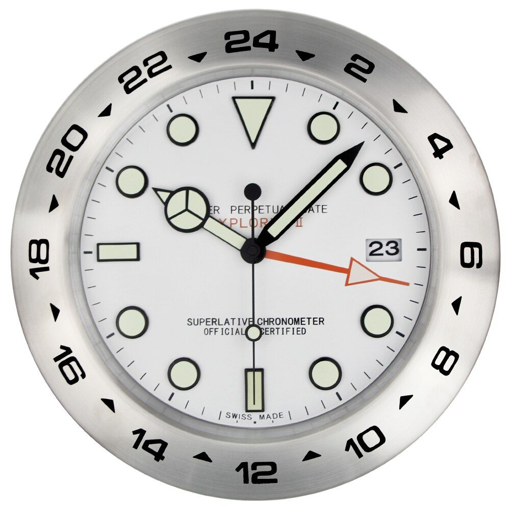 XL Sized 385MM Metal Watch Shape Wall Clock with Night Lights Dial with LOGO