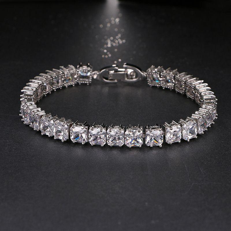 Emmaya 2017 nouvelle arrivée bracelets pour femme dames brillant 6mm carré AAA cubique Zircon cristal bijoux cadeau fête de mariage