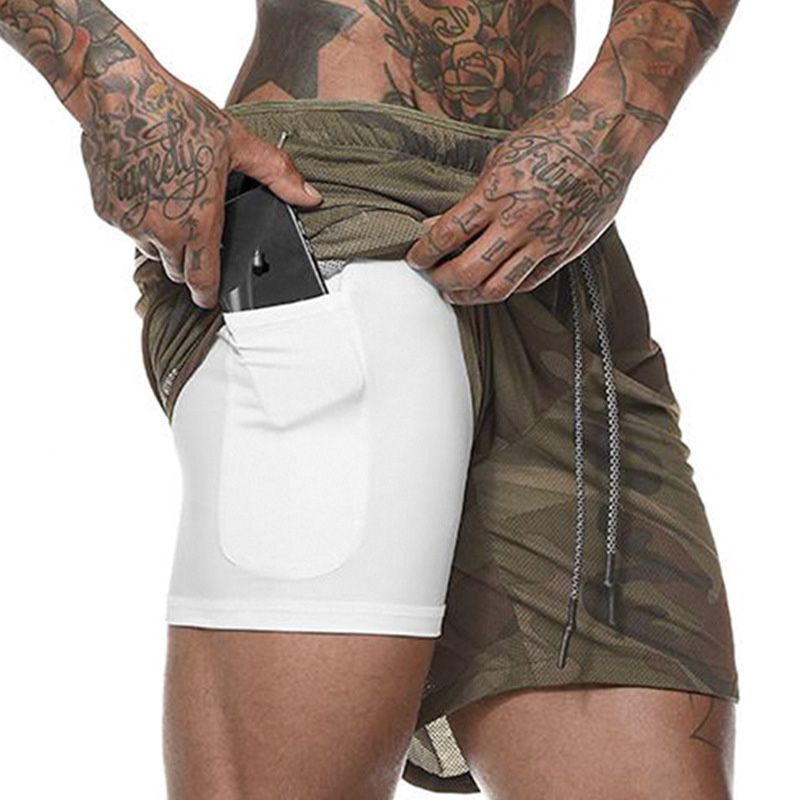 Hot Men's 2 in 1 Running Shorts Mens Sports Shorts Quick Drying Training Exercise Jogging Gym Shorts with Built-in pocket Liner