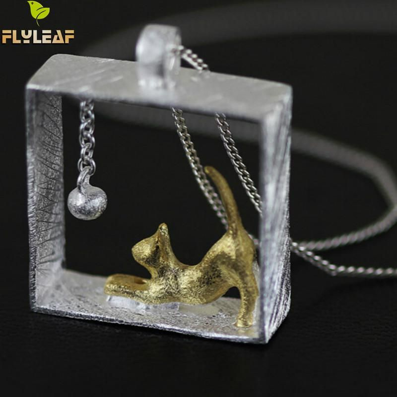 Flyleaf 100% 925 argent Sterling chat colliers et pendentifs pour femmes fille bijoux Collares 2017 colar