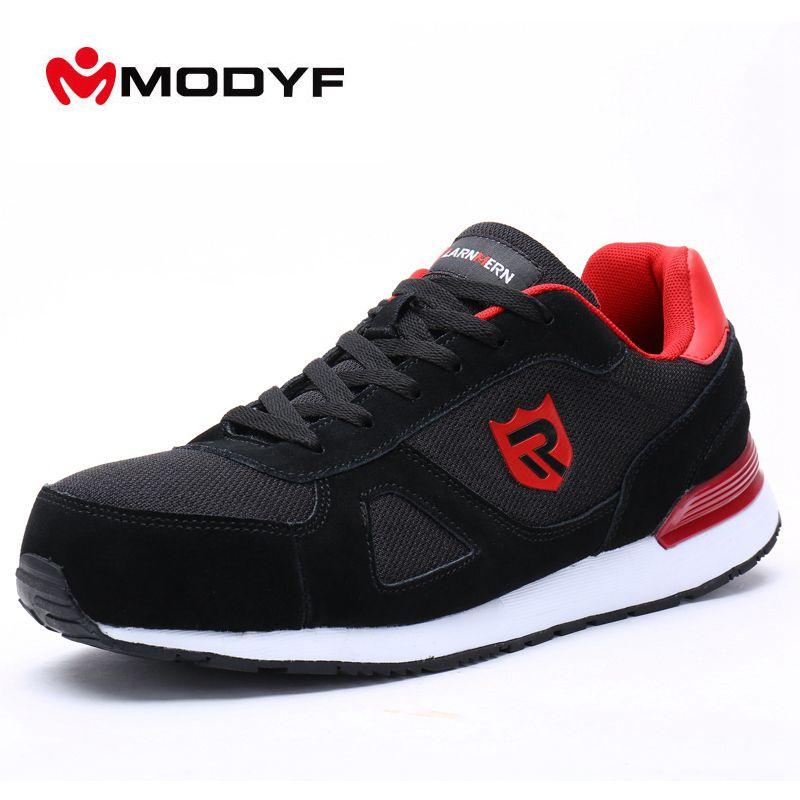 MODYF Men Summer Spring Steel Toe Work Safety Shoes Casual Skateboard Sneaker Ankle Protective Footwear