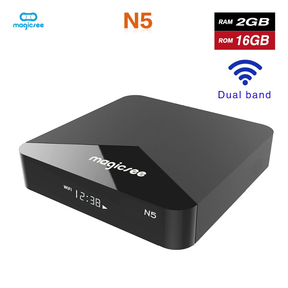 Magicsee N5 Android 7.1 TV BOX Amlogic S905X Quad-core 4 K Résolution 2 GB RAM 16 GB ROM 2.4G 5G WiFi Set Top Box