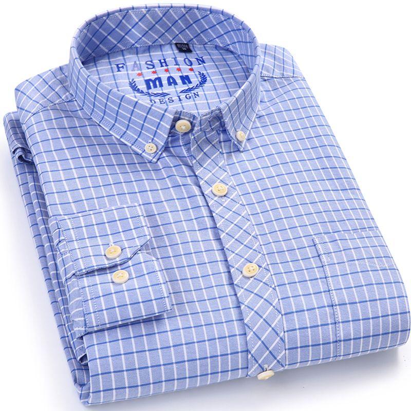 Patrón de Prueba de Oxford de Manga Larga de los hombres Camisa de Vestir con Bolsillo En El Pecho Izquierdo de Algodón Casual Elegante Slim-fit Button abajo Camisas A Cuadros