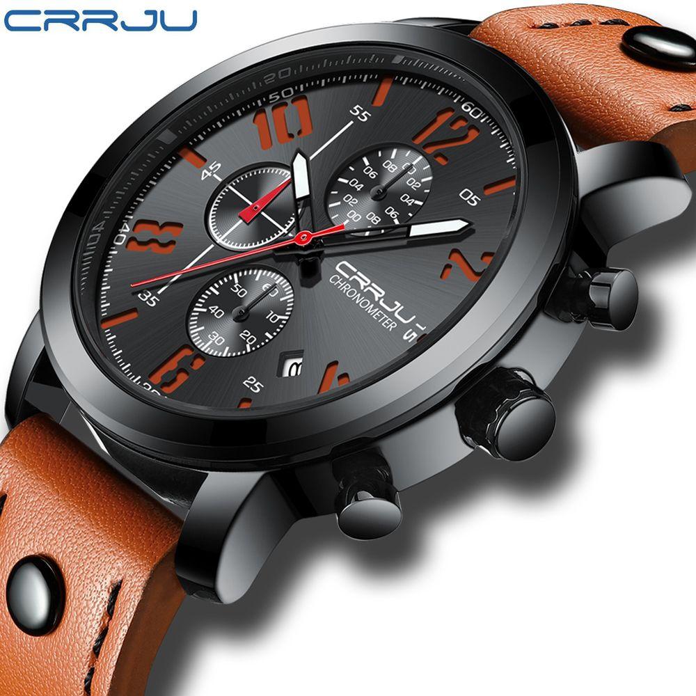 Relogio Masculino CRRJU Creative Luxury Quartz Men Watch Leather Chronograph Army Military Sport Watches Clock Men Reloj Hombre