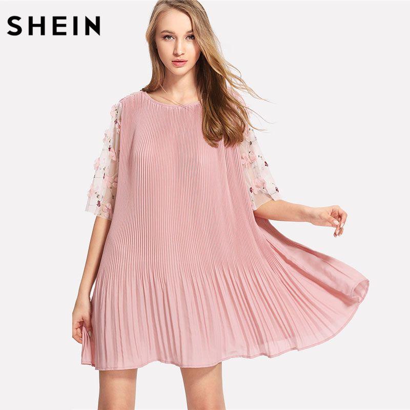 SHEIN Flower Applique Mesh Sleeve Pleated Plain Dress Women Pink Round Neck Half Sleeve Short Dress 2018 Boho Shift Dress