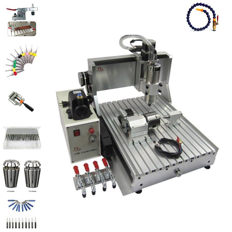 CNC Router 6090 metall Gravur Maschine 4 achsen USB Port 2200 watt Wasser Kühlung Carving mit freies cutter