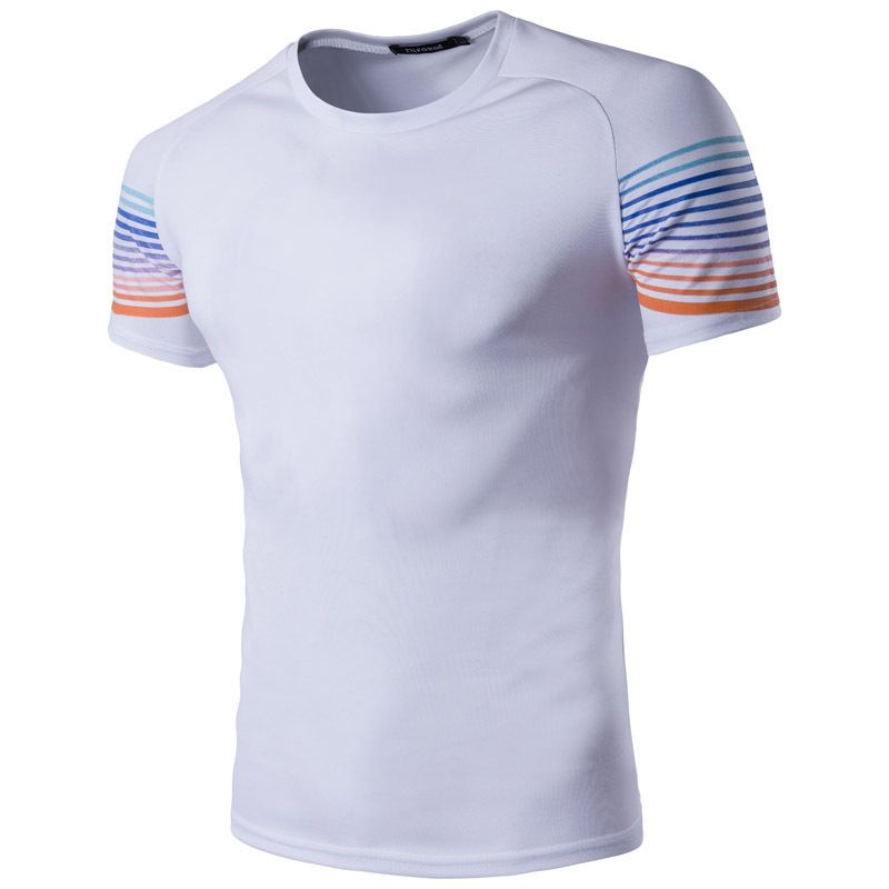 2017 new men fast drying clothes cuff color hit color men short sleeved T shirt F041