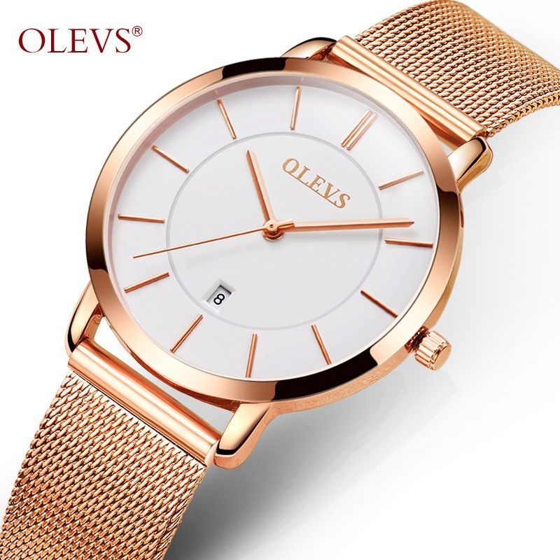 Reloj de oro de las mujeres olevs Fashion Ladies relojes de cuarzo auto fecha reloj para niña vestido de acero inoxidable mujer reloj