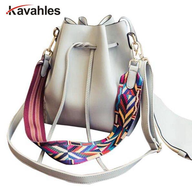 Fashion Colorful Strap Bucket Bag Women High Quality Pu Leather Shoulder Bag Brand Desinger Ladies Crossbody Bags  PP-749