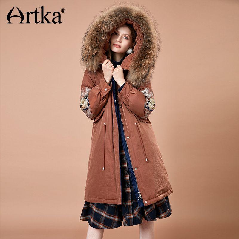 ARTKA Women 2018 Winter Vintage Embroidery Thick 90% White Duck Down Coat Fur Hoodies Female Fashion Warm Jacket Coat YK10184D