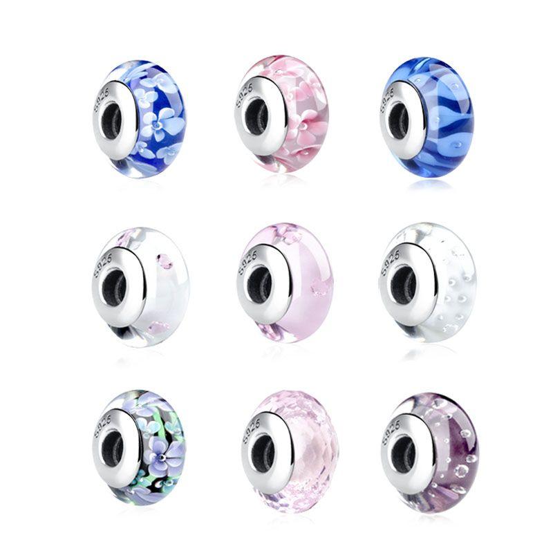 16 styles de Haute Qualité 925 Sterling Argent Fleur Rose Coeur Zircon Clair Munaro Verre Perles Authentique S925 Bijoux SCZ001