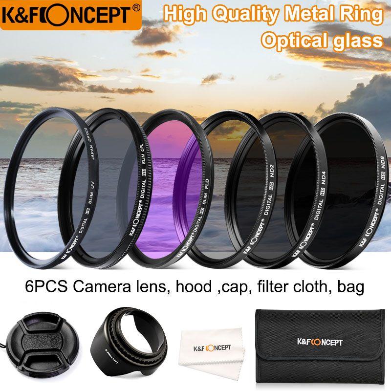K & F CONCEPT 52/58/62/67/72/77mm UV CPL FLD ND2 ND4 ND8 6 pièces Lentille Filtres Kit avec 4 Cadeaux Pour Nikon Canon Sony Tamron et plus