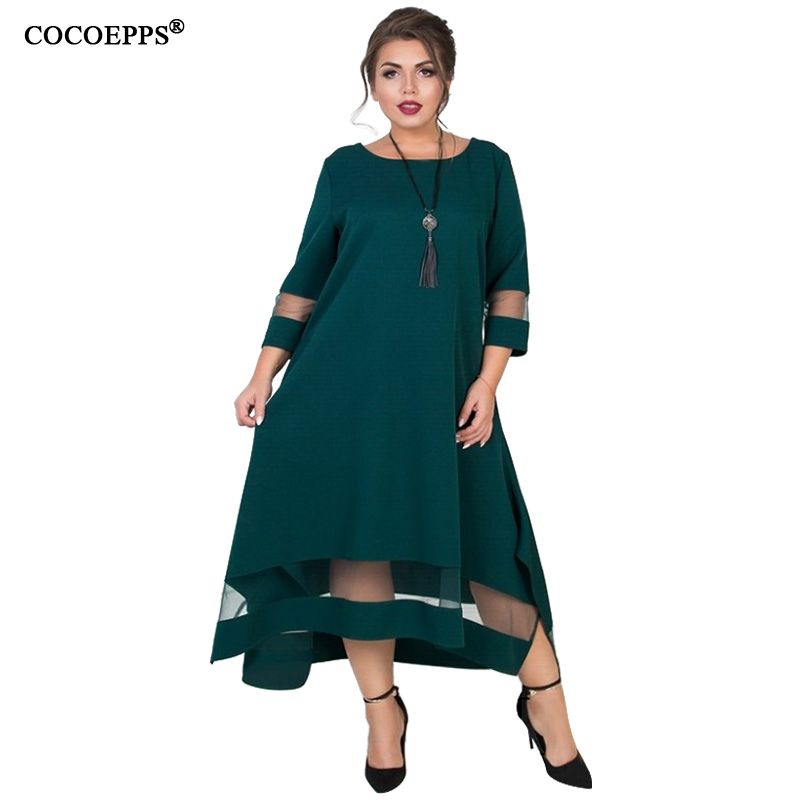 A Line 5xl 6xl Plus Size Winter Dress Mesh Elegant Women Dress Large Size Long Maxi Dress Evening Party Big Size vestidos 2018