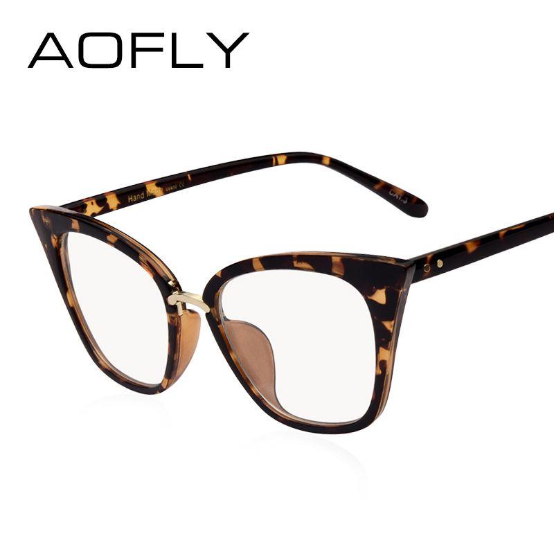 AOFLY DISEÑO DE LA MARCA Mujer Gafas planas Ojo de Gato Gafas Marco Lente transparente Espectáculo óptico Los anteojos Moda Gafas AF2537